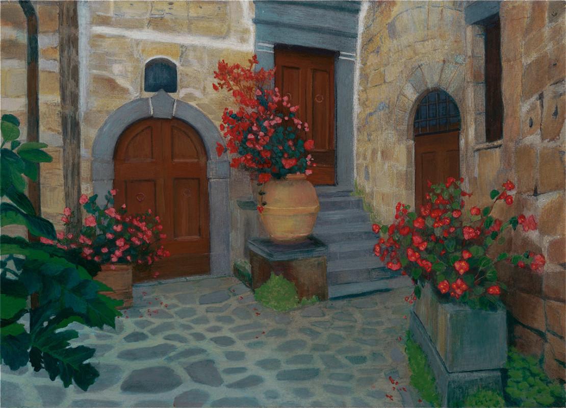 """""""The Courtyard"""" of Bagnoreggio Italy, Egg Tempera  7 1/8x10 © Nelia Harper"""