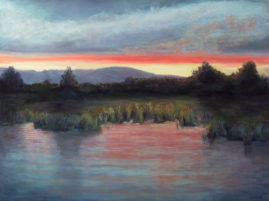 Red Sky at Night - A Summer Sunset18x24 pastel © Nelia Harper