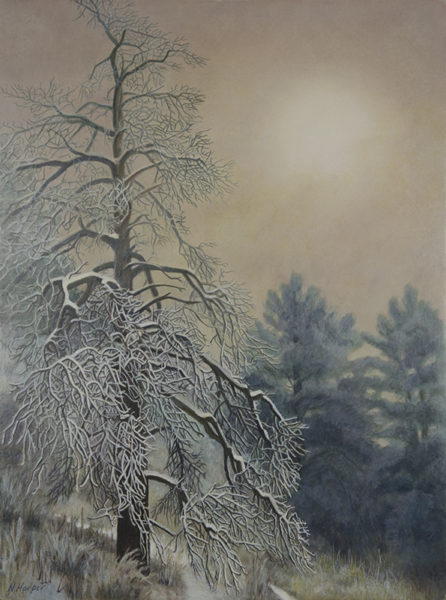 """Into the Fog"" - Egg Tempera Painting - 12x9 © Nelia Harper"