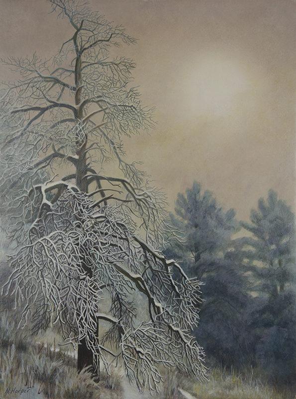 """""""Through the Fog"""" - Egg Tempera - 12x9 on Board © Nelia Harper"""