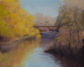"""Riverbend Crossing"" 11x14 Pastel © Nelia Harper"