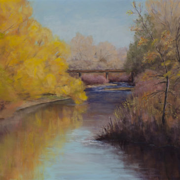"""Riverbend Crossing"" 11x14 Pastel © Nelia Harper"