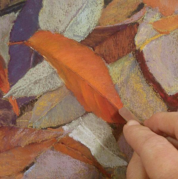 "Close up of a leaf in progress. ""Autumn Leaves"" 8x10 Pastel on Warm Belgian Mist Kitty Wallis Paper © Nelia Harper"