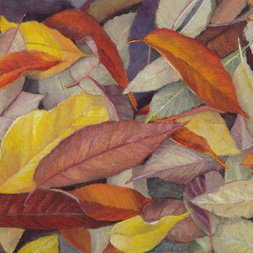 """Autumn Leaves"" 8x10 Pastel on Warm Belgian Mist Kitty Wallis Paper © Nelia Harper"
