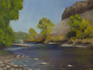 """Cliffs of the Poudre"" Pastel 12x15 © Nelia Harper"