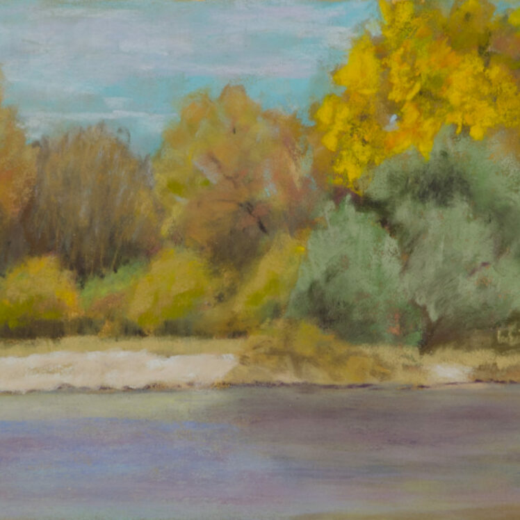Fall Along the River 6x8 Pastel © Nelia Harper