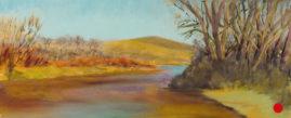 """Golden Spring"" Pastel on Pastelmat paper 4.5x11 © Nelia Harper"