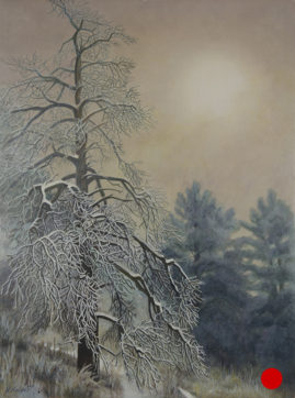 """Through the Fog"" - Egg Tempera - 12x9 on Gesso Panel © Nelia Harper"