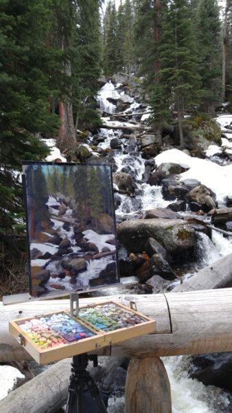Wild Basin, en plein air, 11x15 pastel