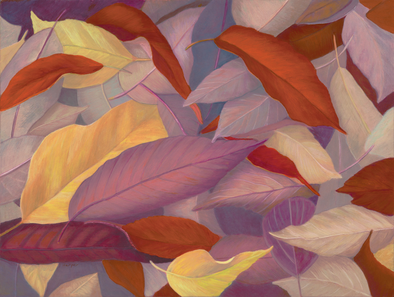 Autumn Leaves, Egg Tempera, 9x12 © Nelia Harper