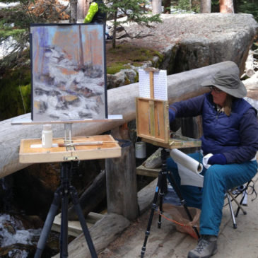 Andrea Gabel and Margueritte Meyer painting at Cascade Falls in Rocky Mountain National Park
