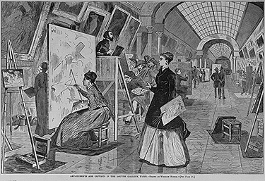 Winslow Homer, Art-Students and Copyists in the Louvre Gallery, Paris, 1868. Wood engraving. Harper's Weekly, January 11, 1868