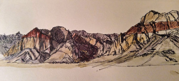 Ink and Watercolor Sketch of Pine Creek Canyon