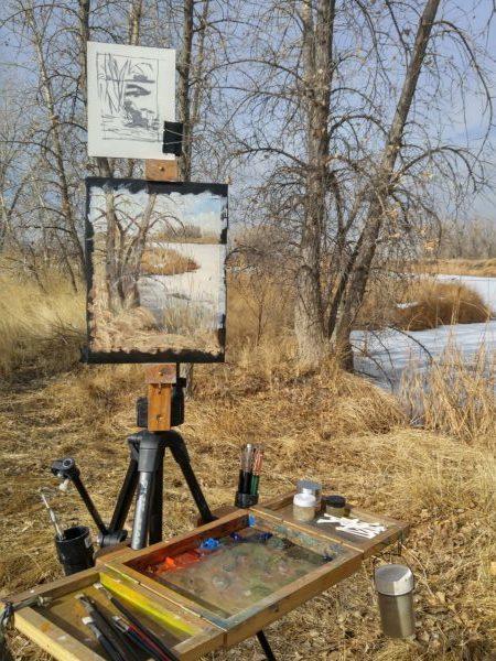 """It's Not Spring Yet"", oil on canvas, 8x10 © Nelia Harper"