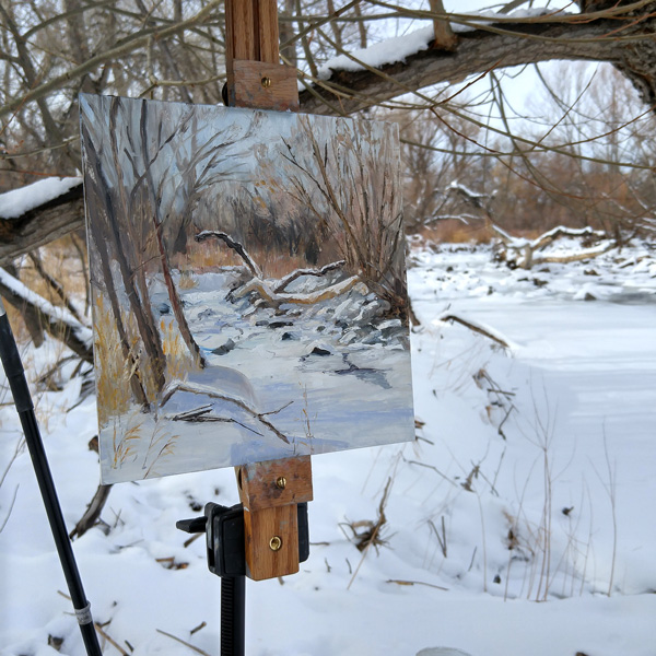 """""""Snow Study"""" 10x10, oil on panel.  On site along the Poudre River."""