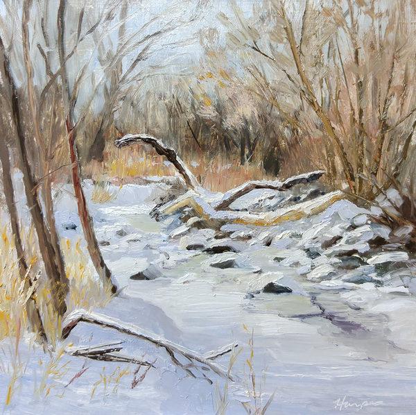 Snow Study, 10x10, oil on panel © Nelia Harper
