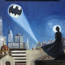 Batman in Gotham City – Oil Painting, 12×16