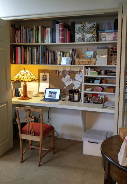 Closet converted into an office