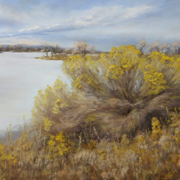 Rabbitbrush, 16x20, pastel on board, © Nelia Harper