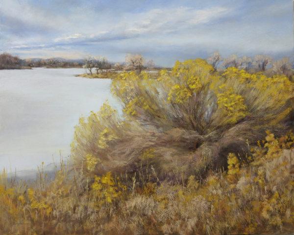 Rabbitbrush, 16x20, pastel on board, © Nelia Harper