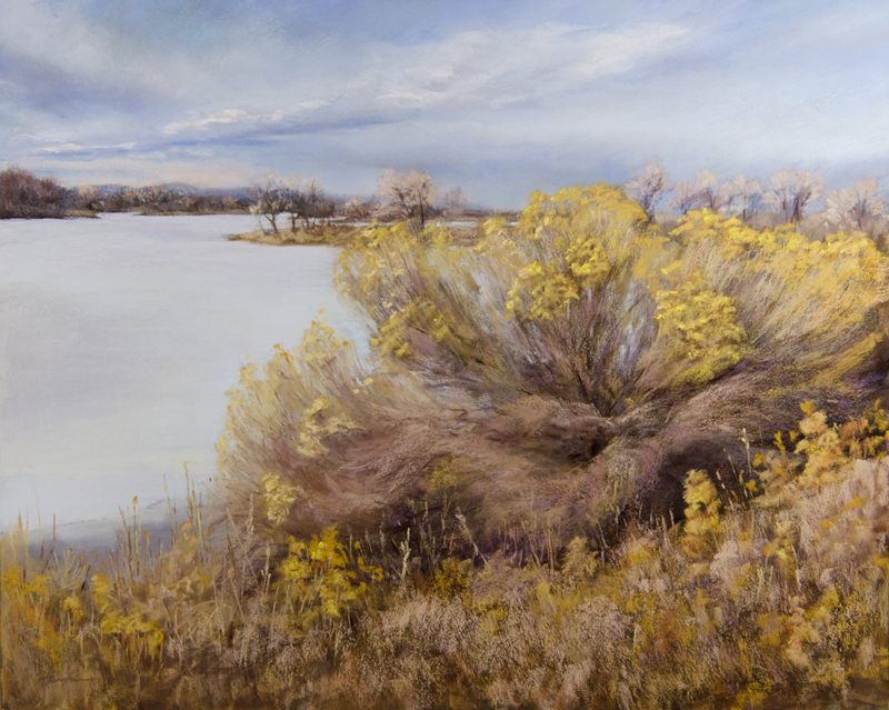 """Rabbitbush"" pastel, 16x20, © Nelia Harper"