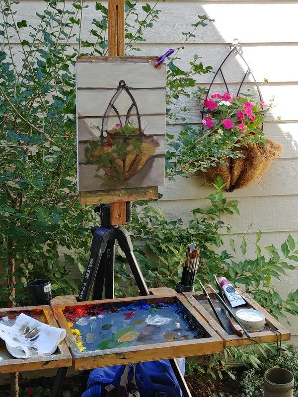 Day 18 - Flower Planter, 12x9, Oil on Panel, © Nelia Harper