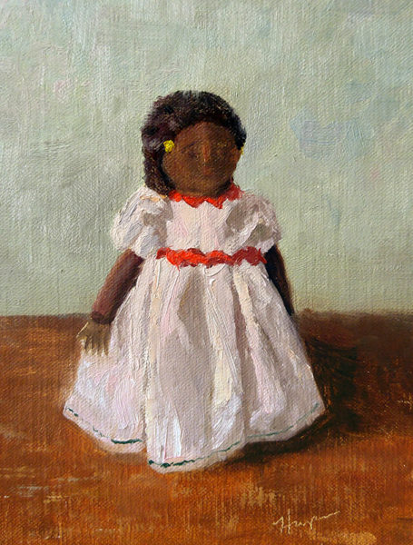 """African Doll"", 8x6, oil on canvas panel, © Nelia Harper"