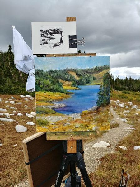"""Lewis Lake TH"", 12x12, oil on panel, © Nelia Harper"