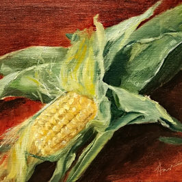 """On the Cob"", 6×8, oil on canvas auction"