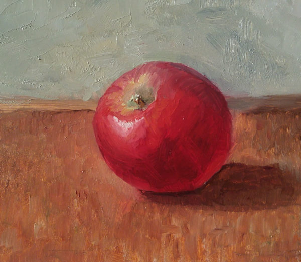 """An Apple a Day"", 5x7, oil on panel, © Nelia Harper"