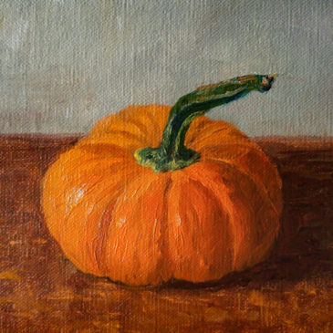 """Mini Pumpkin"", 5x7, oil on panel, © Nelia Harper"