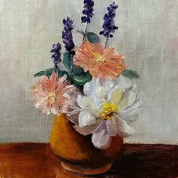 """Last of the Summer Flowers"", 8x6, Oil on Canvas panel, © Nelia Harper"
