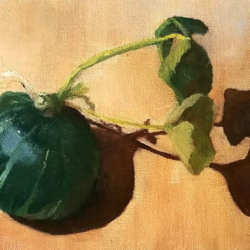 """Kabocha Squash"", 5x7, oil on canvas, © Nelia Harper"