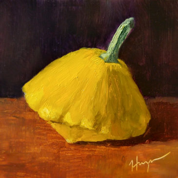 """Giant Pattypan"" 5x7, oil on panel, © Nelia Harper"
