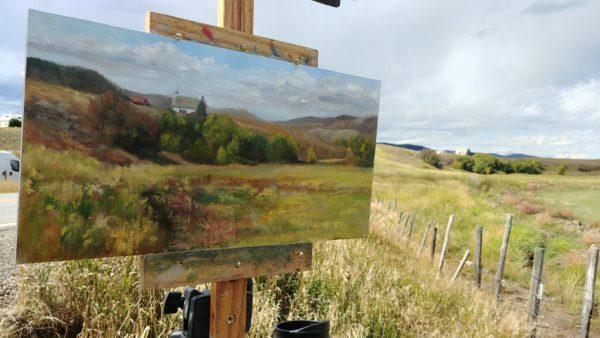 """Schoolhouse - Uphill Both Ways"", 8x16 oil on linen, © Nelia Harper"