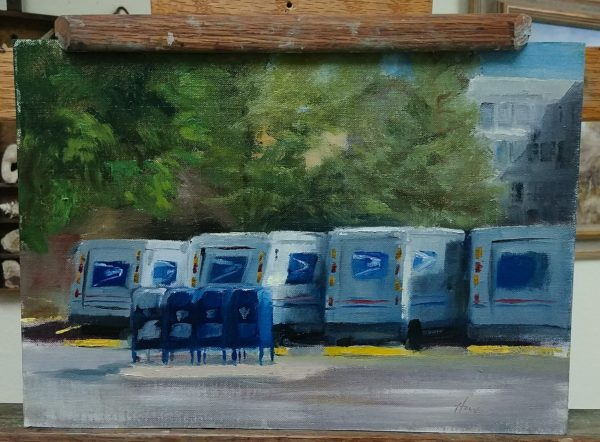 """The Morning Lineup"", 9x12, oil on linen, © Nelia Harper"