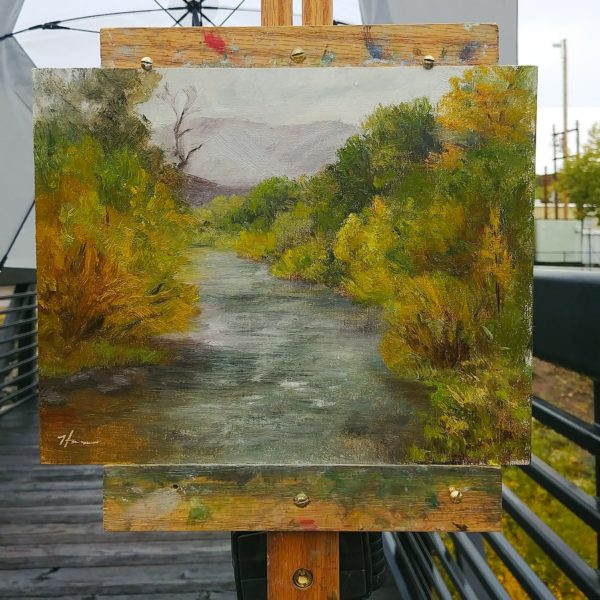 Rainy Day on the Yampa, 8x10 oil on linen, © Nelia Harper