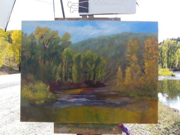 """Elk River"", 12x16 oil panel, © Nelia Harper"