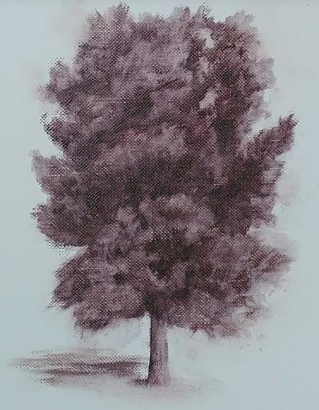 """Monochromatic Tree Study #1"" 7x5, oil on linen, © Nelia Harper"