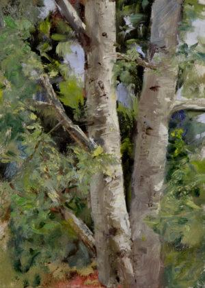 Aspen Study No. 5, oil on panel, 7x5, © Nelia Harper