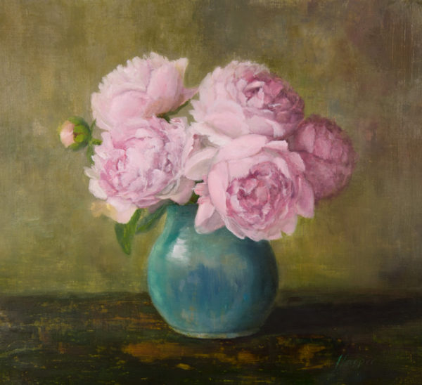 Peonies, 14x15, oil on linen, © Nelia Harper