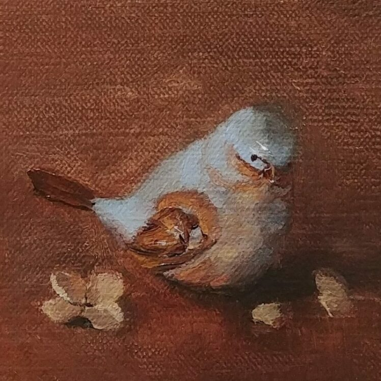 Bitty Bird, 3 1/4 x 3 1/4, oil on canvas panel, © Nelia Harper