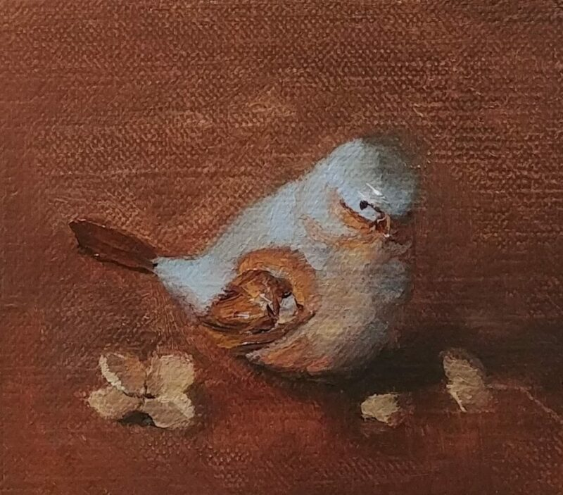 Bitty Bird, 3 1/4 x 3 1/4, oil on canvas panel, © Nelia Harper