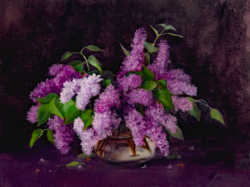 Lilacs, 16x21, oil on linen, © Nelia Harper