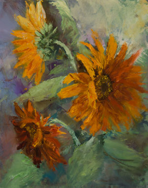 Sunflowers, 10x8, oil on board