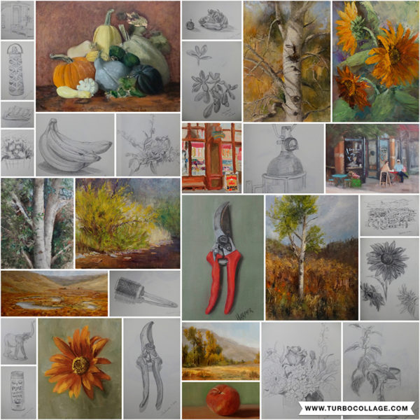 Select drawings and paintings from September Strada Easel Challenge.