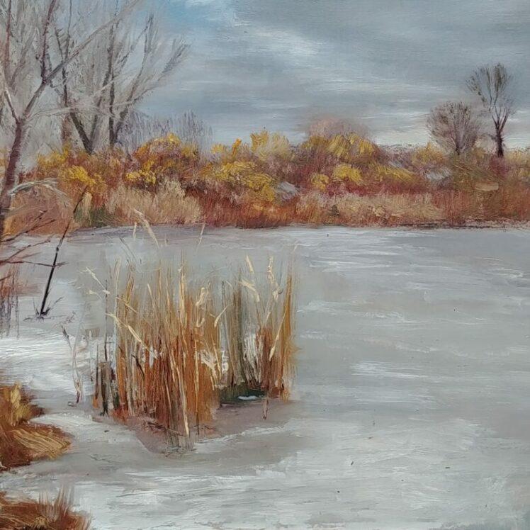 Winter Morn, 6x9, oil on board, © Nelia Harper