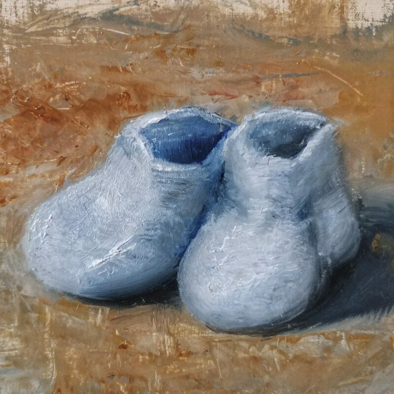 Blue Booties, oil on linen panel, 5.5x5.875, © Nelia Harper