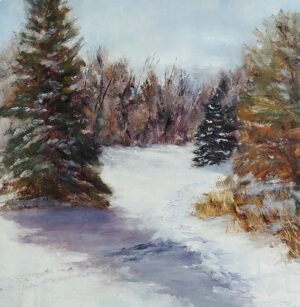 First Tracks, oil on linen panel, 9x9, © Nelia Harper