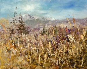 Cattail Chaos, 8x10, oil on aluminum panel, © Nelia Harper
